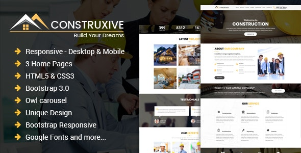 Construcxive - One Page Construction HTML Template - Corporate Landing Pages