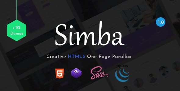 Simba - One Page Parallax - Corporate Site Templates