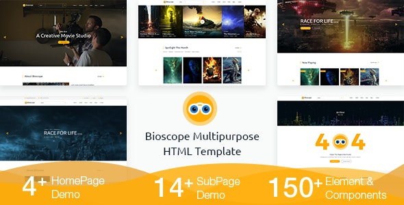 Bioscope - A Complete Video and Film Agency HTML Template - Film & TV Entertainment