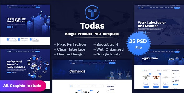 Todas - Single Product PSD Template - Business Corporate