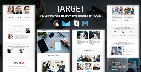 Target - Multipurpose Responsive Email Template With Stampready Builder Access - Newsletters Email Templates