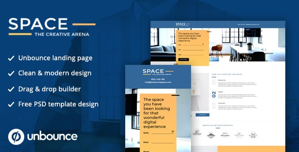 Unbounce Landing Page Template - SPACE - Unbounce Landing Pages Marketing