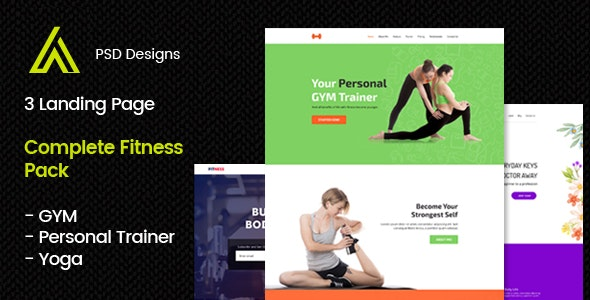 GYM, Yoga, Personal Trainer PSD Template & Landing page - Creative Photoshop