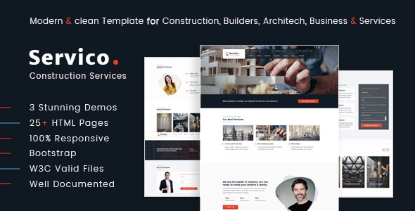 Servico – Construction Services HTML5 Template - Business Corporate