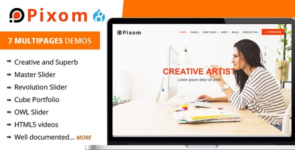 Pixom - Multipages Responsive Business Drupal 8.9 Theme - Business Corporate