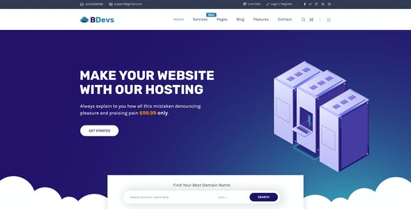 BDevs - Hosting Provider & WHMCS PSD Template