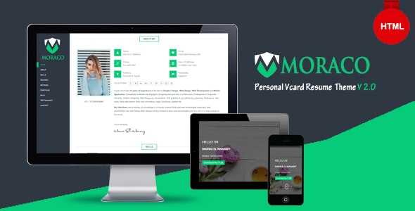 MORACO - Personal Vcard Resume HTML Template - Resume / CV Specialty Pages