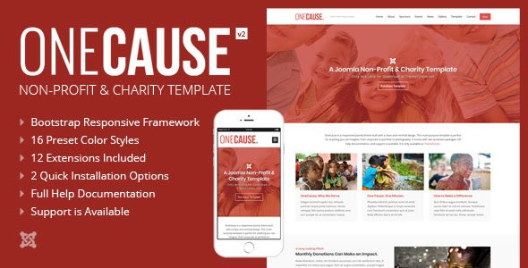 OneCause - Charity & Non-Profit Joomla Theme - Nonprofit Joomla