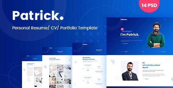 Patrick - Modern Personal Resume PSD Template - Virtual Business Card Personal
