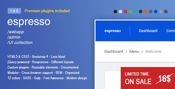 Espresso - A Responsive Bootstrap 4 webapp admin panel by