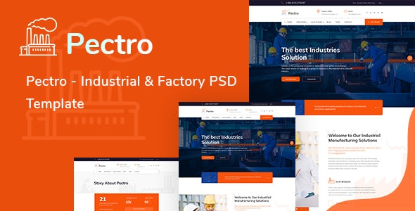 Pectro  - Industrial  & Factory PSD Template - Corporate Photoshop