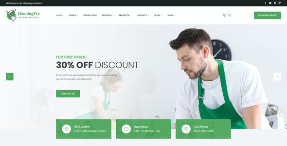 CleanPro - Cleaning Service PSD Template