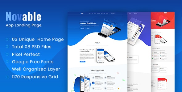 Novable - App Landing Page PSD Template - Technology Photoshop