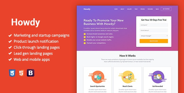 Howdy - Multipurpose High-Converting Landing Page Template - Marketing Corporate