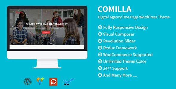 Comilla - Digital Agency One Page WordPress Theme - Technology WordPress