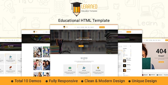 Learned - Education HTML Template - Nonprofit Site Templates