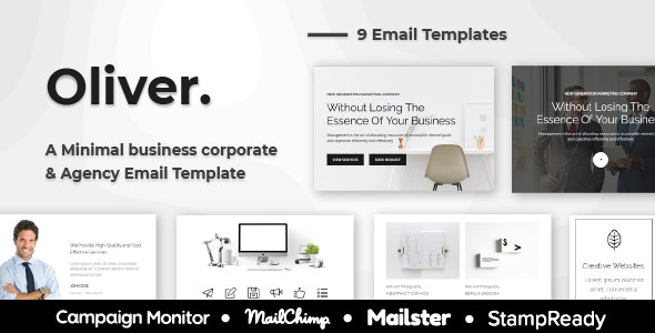 Oliver - Minimal Multipurpose Responsive Agency Email Template - StampReady + Mailster + Mailchimp - Newsletters Email Templates