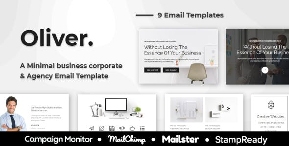Oliver - Minimal Multipurpose Responsive Agency Email Template - StampReady + Mailster + Mailchimp