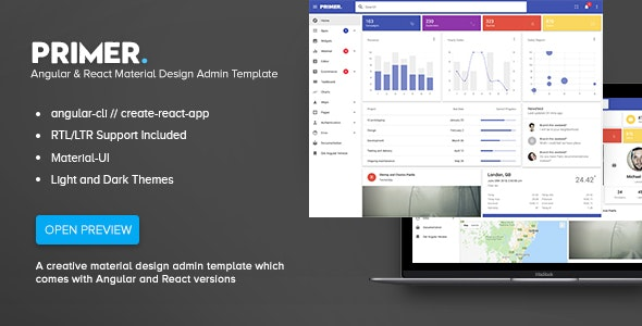 Primer - Angular & React Material Design Admin Template by iamnyasha