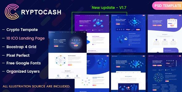 Cryptocash – ICO Cryptocurrency & ICO Landing Page PSD Template - Technology Photoshop