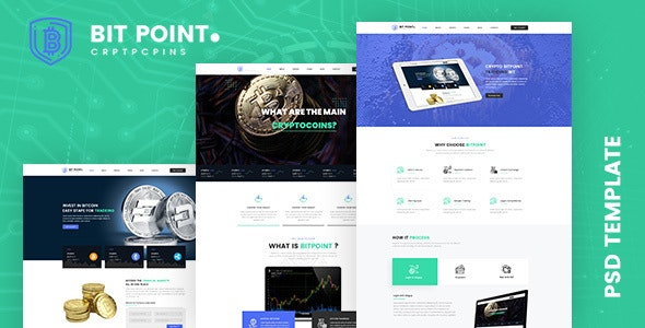 BitPoint- Crypto Currency PSD Template - Photoshop UI Templates