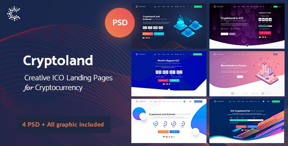 Cryptoland - ICO Landing Pages & Cryptocurrency PSD Pack - Business Corporate