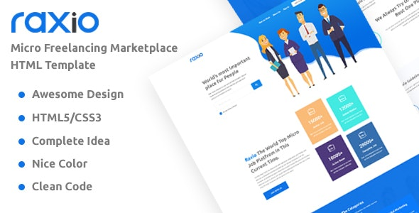 Raxio - Freelancing Marketplace Technology Business HTML Template - Technology Site Templates