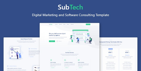 SubTech - Digital Marketing and Software Consulting Template - Technology Site Templates