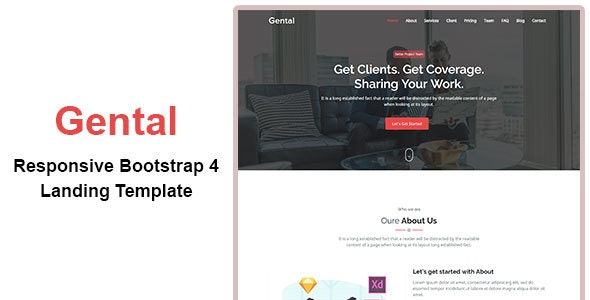 Gental - Responsive Bootstrap 4 Landing Template - Landing Pages Marketing
