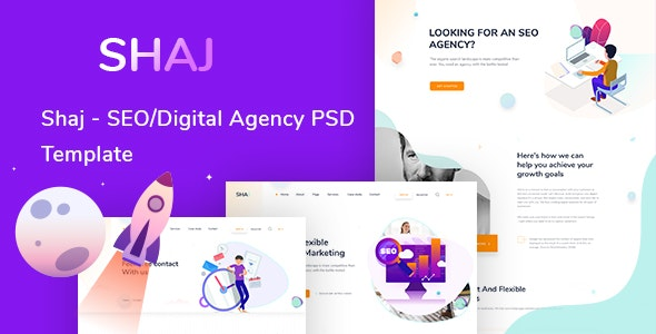 SHAJ - SEO/Digital Agency PSD Template - Creative Photoshop
