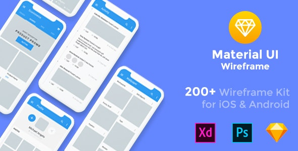 Baseframe - Wireframe UI KIT 200++ Sketch - XD - PSD Template by