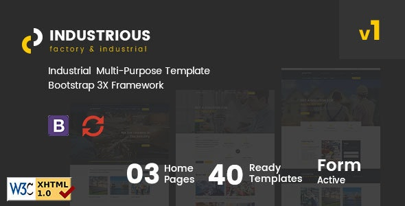 Industrious - Factory & Industrial Responsive HTML5 Template - Business Corporate