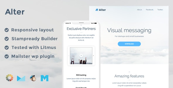 Alter Responsive Email Template + Stampready Builder + Mailchimp + Mailster - Email Templates Marketing