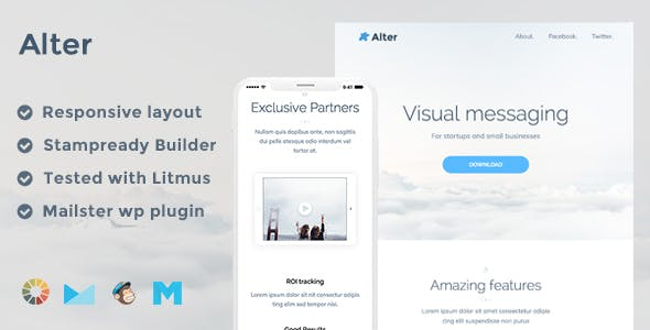 Alter Responsive Email Template + Stampready Builder + Mailchimp + Mailster