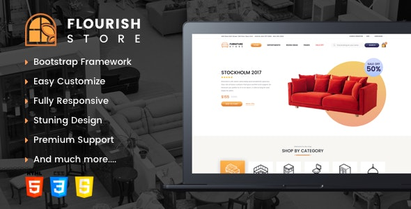 Flourish- eCommerce HTML5 Template - Retail Site Templates