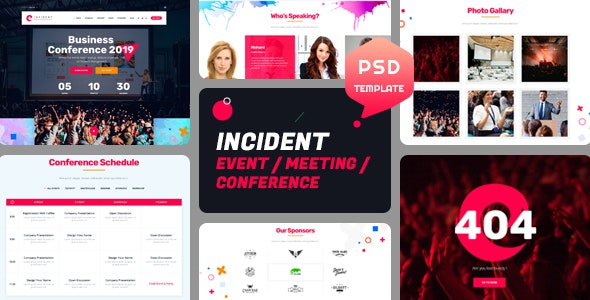 Incident - Event, Meeting and Conference PSD Template - Marketing Corporate