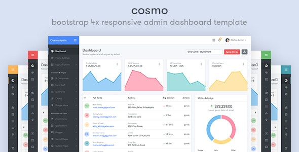 Cosmo - Bootstrap 4 Responsive Admin Dashboard Template - Admin Templates Site Templates