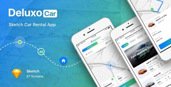 Deluxo Car - Sketch Car Rental App - Business Corporate