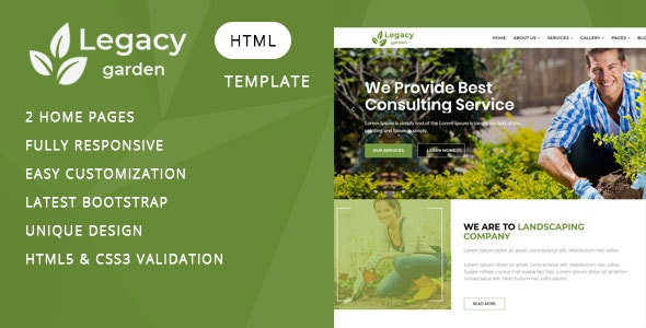Legacy - Garden and Landscape Company HTML Template - Business Corporate