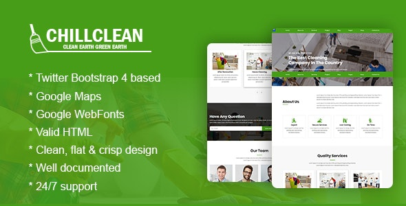Chillclean - Cleaning Services HTML5 Bootstrap4 Responsive Template - Business Corporate