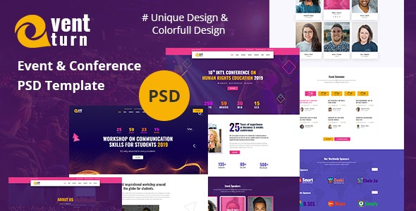 Eventturn - Event and Conference PSD Template - Events Entertainment