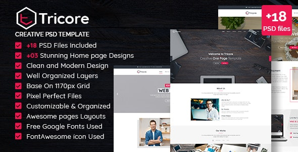 Tricore - Creative PSD Template - Experimental Creative