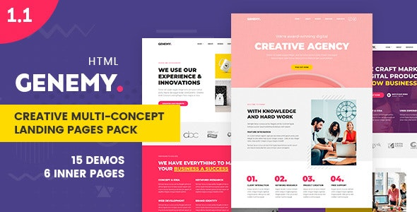 Genemy - Creative Multi Concept Landing Pages Pack - Landing Pages Marketing