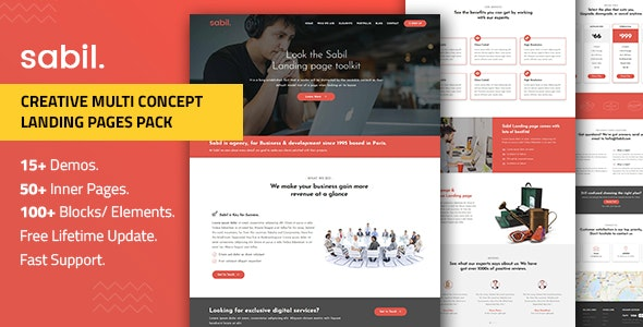 Multipurpose Bootstrap Landing Page Templates — Sabil - Landing Pages Marketing