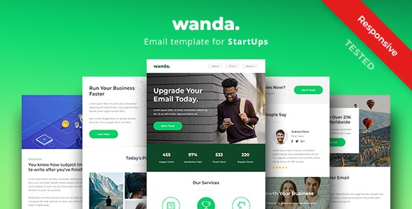 Wanda - Responsive Email Newsletter Template For Startup - Newsletters Email Templates