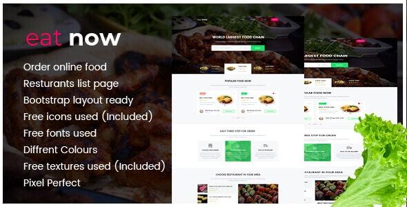 Eat Now Restaurants Directory - PSD - Food Retail