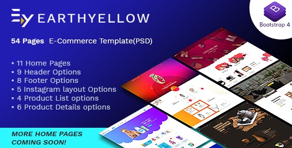 Earthyellow - eCommerce PSD Template - Retail Photoshop