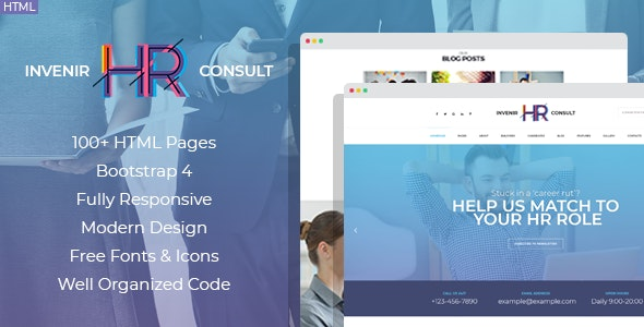 Invenir - HR recruiting agency HTML template - Business Corporate
