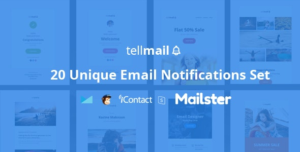 tellmail - 20 Unique Responsive Email Set + Online Access - Email Templates Marketing