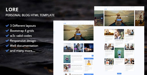 LORE -  Personal Blog HTML Template - Creative Site Templates